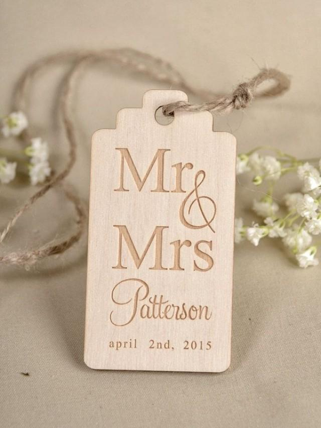Personalised Wedding Gift Tags : ... Tag , Engraved Wedding Wood Tag, Favors Tags Wedding, Gift Tag Rustic