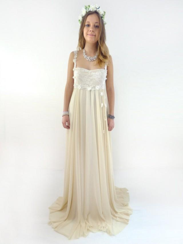 Sweetheart wedding gown outside bridal gown chiffon for Empire lace wedding dress