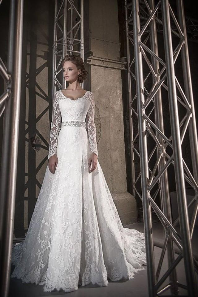Long Sleeve Wedding Dress Lace Wedding Dress Long Train