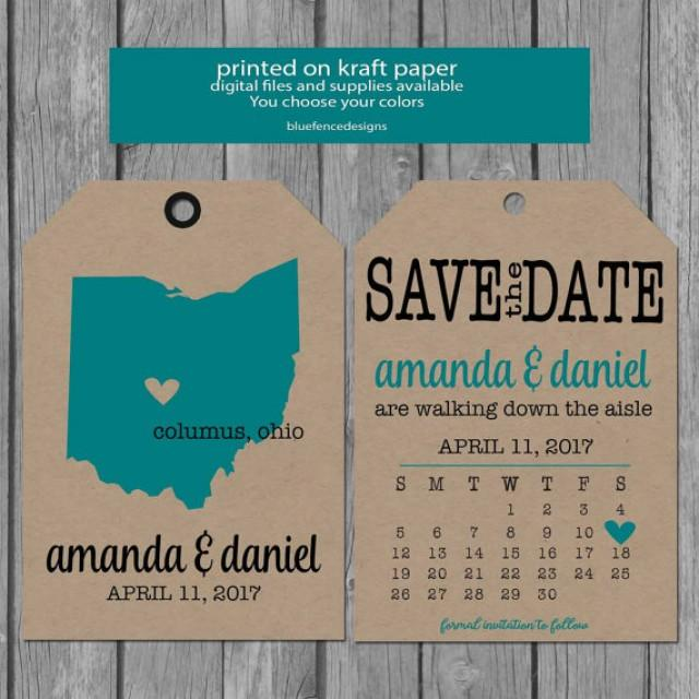 Luggage Tag Save The Date Card, State Save The Date, Calendar Save ...