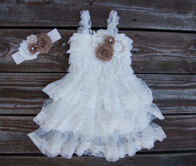 Flower girl dress lace toddler dress ivory flowergirl for Country wedding flower girl dresses