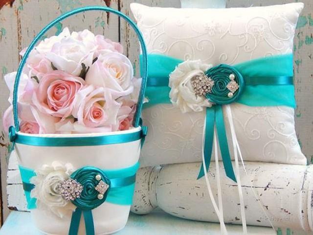 teal ring bearer pillow teal flower girl basket set flower girl basket and ring bearer. Black Bedroom Furniture Sets. Home Design Ideas