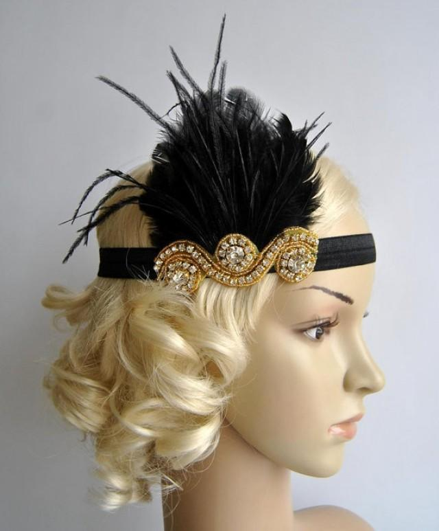 Gold And Black The Great Gatsby 20 S Flapper Headpiece