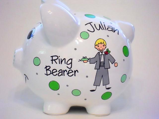 Wedding Gifts For Ring Bearer : Ring Bearer Gift For Wedding Piggy Bank Personalized #2282454 ...