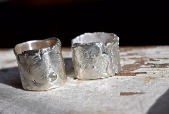 wedding rings artisan sapphire sterling silver recycled primitive wide bands urban rustic 2282508 weddbook - Artisan Wedding Rings