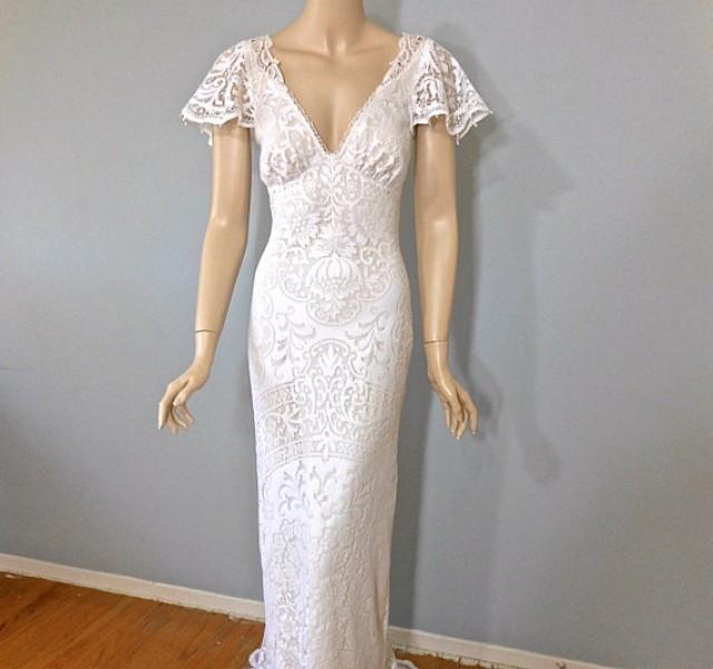 Vintage inspired lace wedding dress boho wedding dress for Unique bohemian wedding dresses