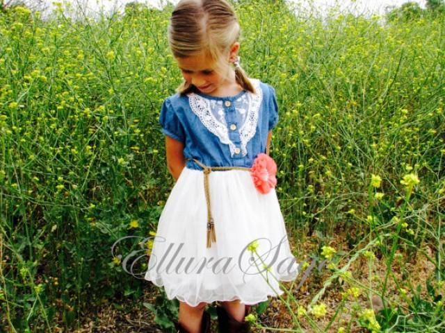 Flower girl dress denim flower girl dress denim toddler for Country wedding flower girl dresses