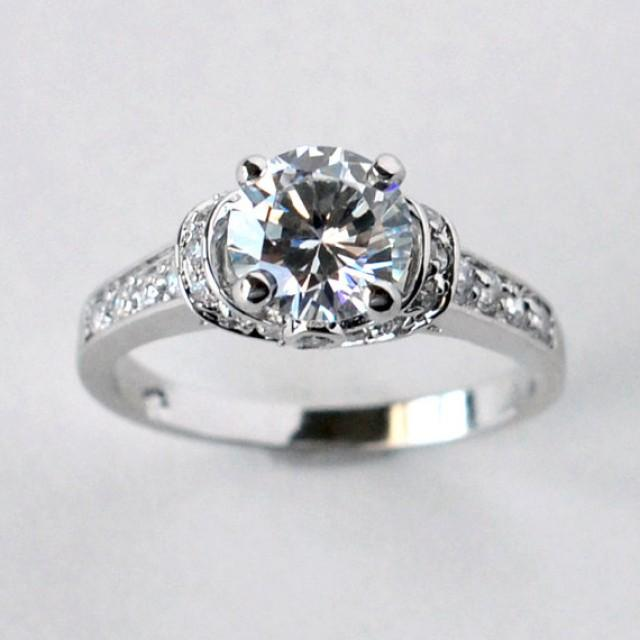 Solitaire Engagement Ring With CZ Cubic Zirconia Wedding Ring Promise Ring