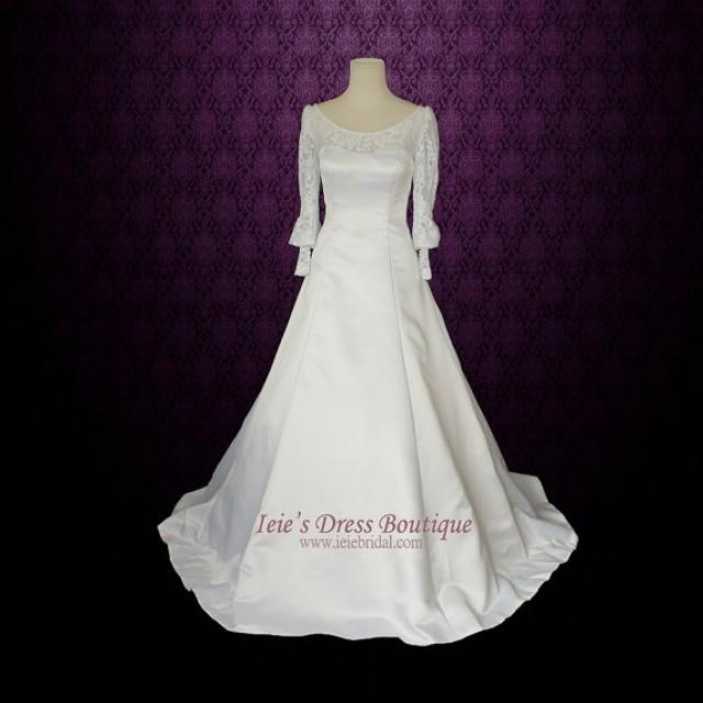 Long sleeves wedding dress modest wedding dress with for Wedding dress detachable sleeves