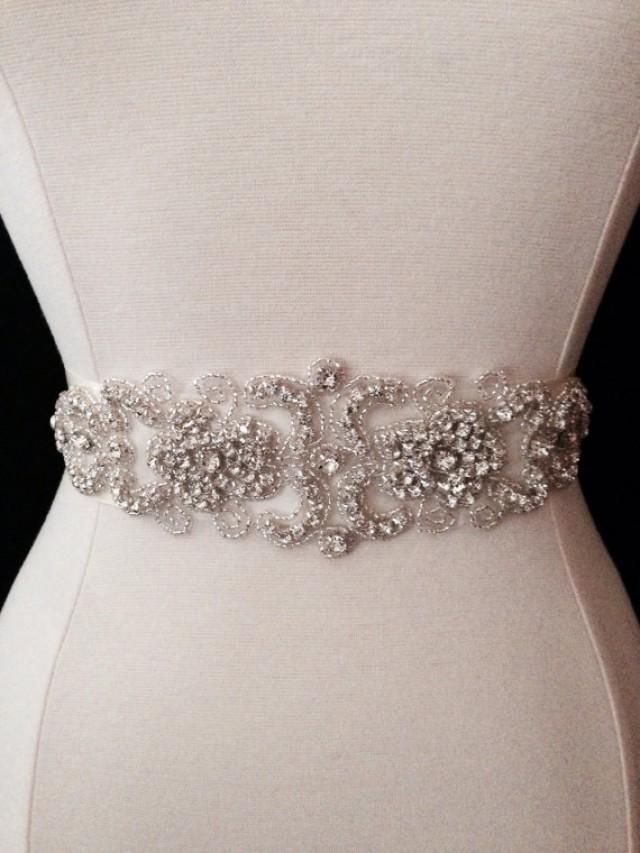 Bridal sash wedding dress sash belt crystal rhinestone for Sparkly belt for wedding dress