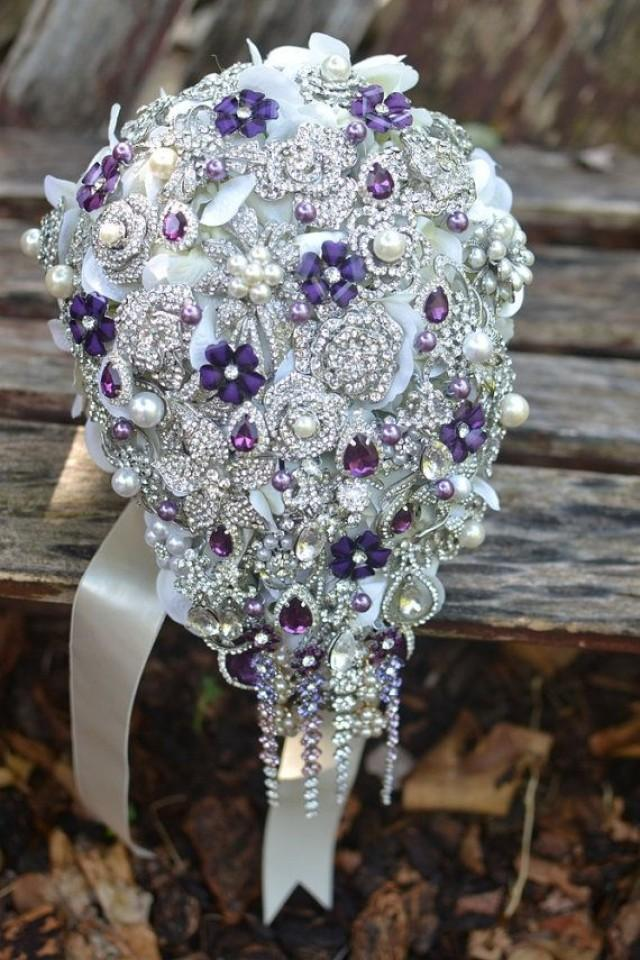 deposit on purple and pearl cascading brooch bouquet made to order brooch bouquet 2283207. Black Bedroom Furniture Sets. Home Design Ideas