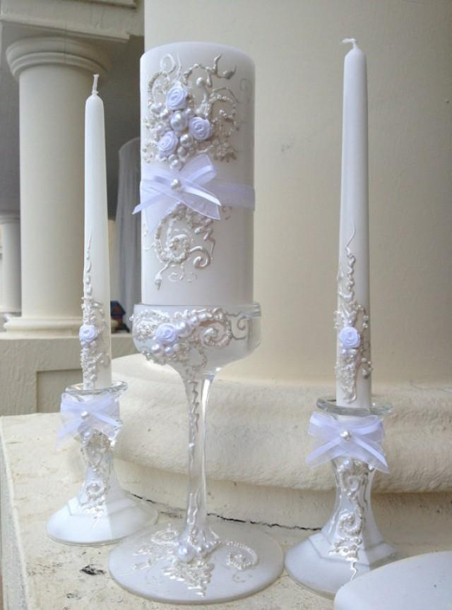 Beautiful Wedding Unity Candle Set 3 Candles And 3 Glass Candleholders In White And Off White