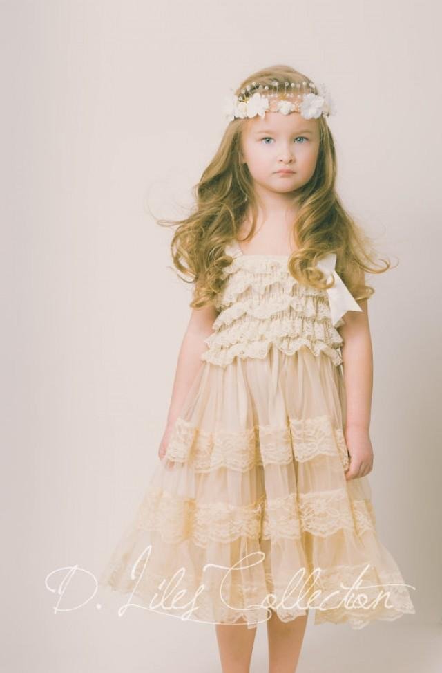 Lace rustic flower girl dress champagne lace dresses for Country wedding flower girl dresses