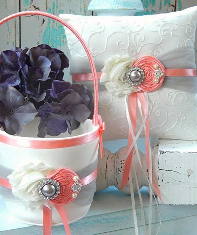 Flower Girl Basket Gray : Coral and grey flower girl basket ring bearer pillow