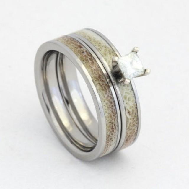 princess cut ring antler wedding band unique