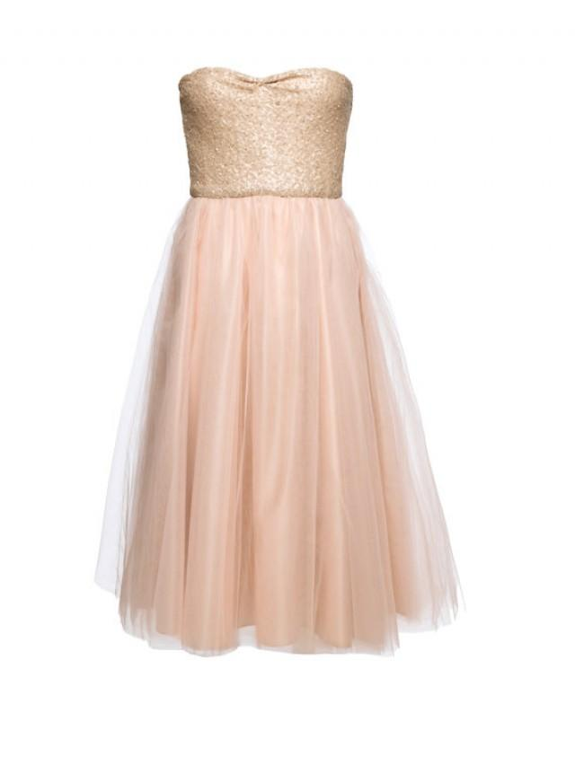Blush sequinned tea length wedding dress knee length for Champagne tea length wedding dresses