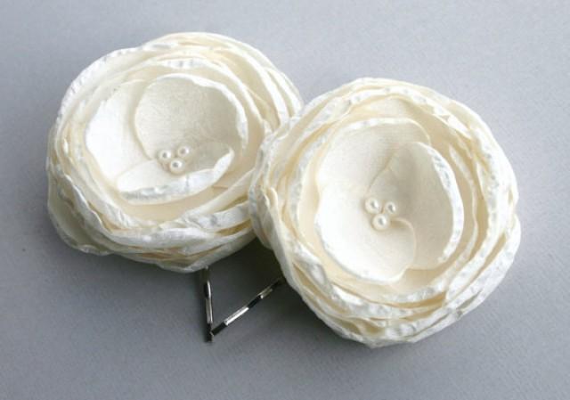 Bridal Ivory Flower Hair Accessories : Bridal flower hair piece ivory wedding accessories