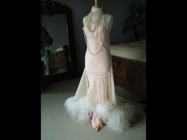 1920s inspired wedding dress evening gown bridal gown for Wedding dress with ostrich feathers