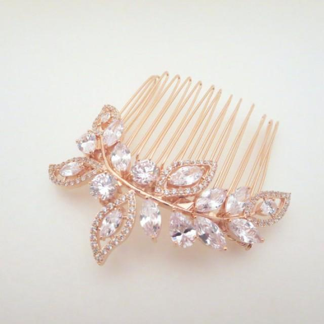 rose gold bridal hair comb rose gold wedding headpiece