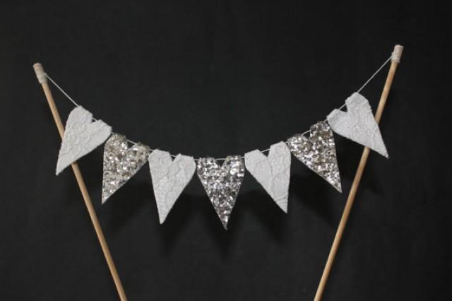 Wedding Cake Topper Silver Wedding Cake Bunting 25th Anniversary Cake Banner Engagement Cake