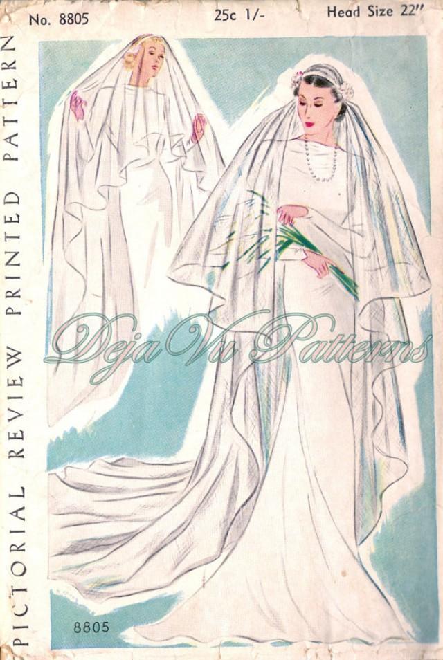 Pictorial Review 8805 Gorgeous Vintage 1930s Bridal Veil