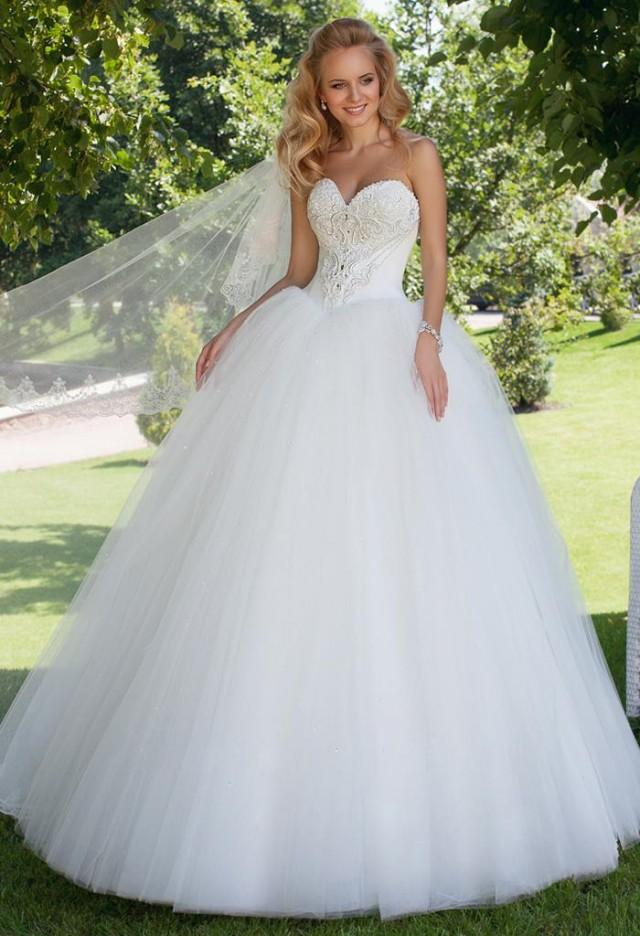Hot Selling 2015 New Oksana Mukha Sexy Sweetheart Strapless Tulle Ball Gown W