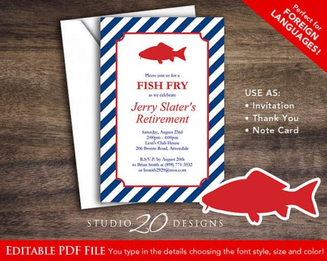 Instant Download Fish Fry Invitations Editable Pdf Diy
