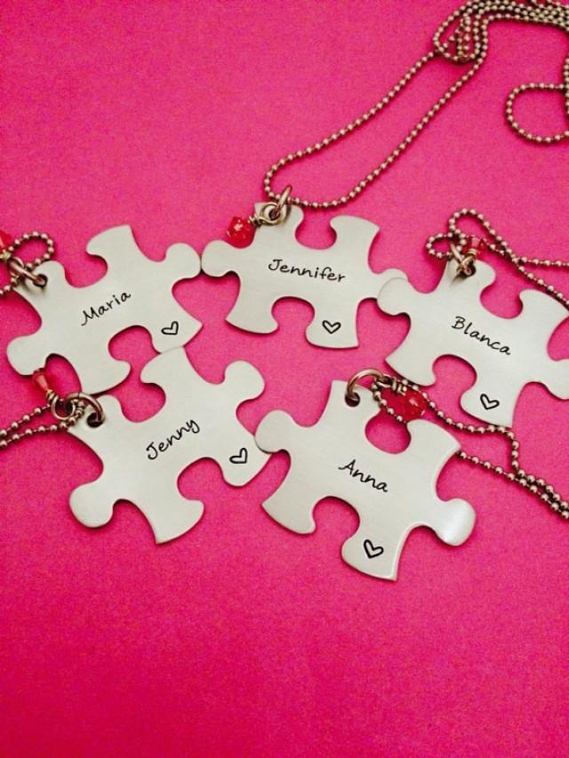 Puzzle Piece Necklace Personalized With Names And Stone