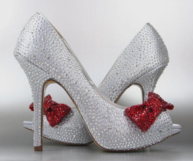 faad7f8974b Wedding Shoes -- Silver Rhinestone Covered Platform Peep Toe Wedding Shoes  with Red Rhinestone Covered Bow on Toe
