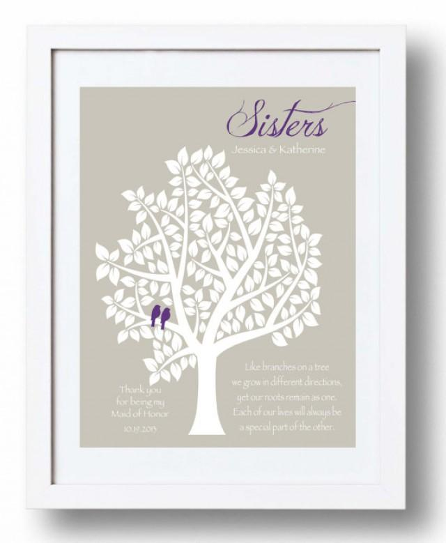 1 Year Wedding Anniversary Gift From Maid Of Honor : maid-of-honor-sister-gift-bridesmaid-sister-print-personalized-gift ...