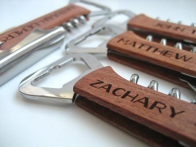 Engraved Wine Bottle Opener Wood Wine Opener Beer