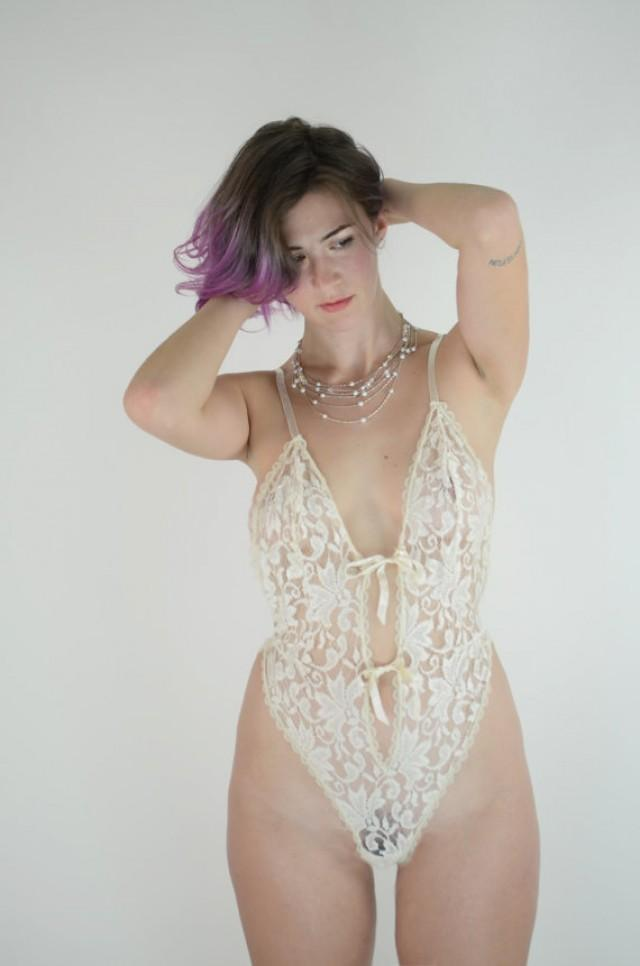 Vtg See Through Lace Wedding Teddy Ivory Lingerie