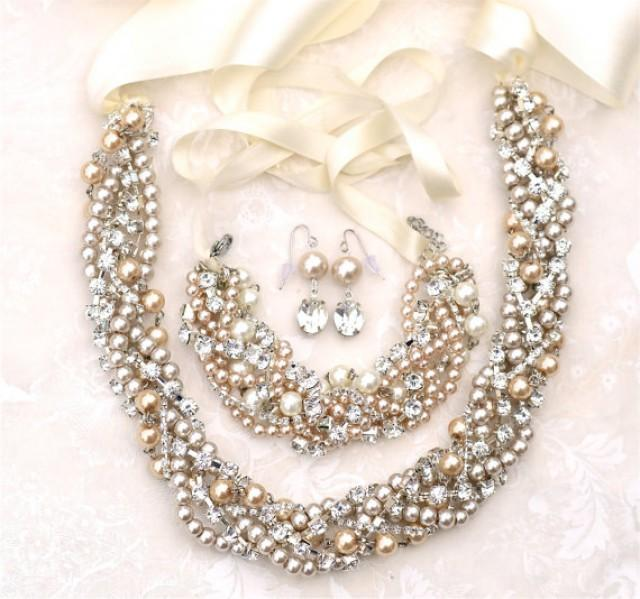 Chunky pearl wedding set champagne pearl and rhinestone for Jewelry for champagne wedding dress