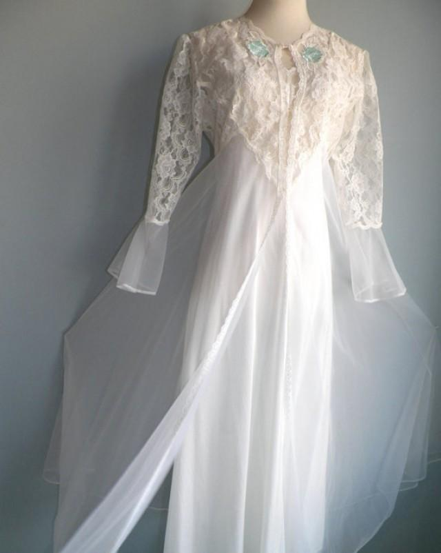 Superb White Lace Nylon Chiffon Negligee Nightgown And