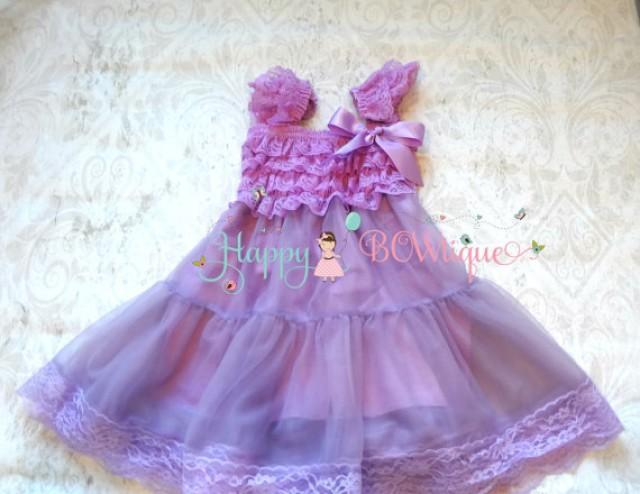 wedding photo - Easter Dress, Flower girl dress, Lilac Plum Chiffon Lace Dress,Easter Girls dress,baby dress,Birthday dress, Easter Sunday , Lavender dress,