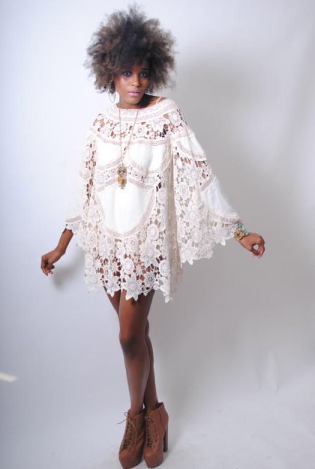 3be22d1a5ddf boho BELL SLEEVE 70s DRESS style ivory lace crochet patchwork sheer hippie  mini dress . Bohemian Wedding Dress.