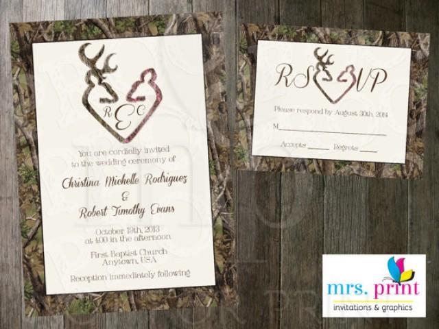 camo deer hearts wedding invitation and rsvp card #2285793 - weddbook, Wedding invitations