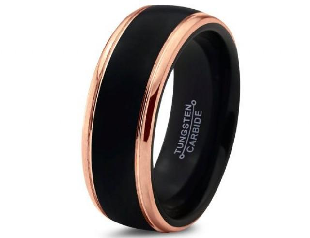 black tungsten ring rose gold wedding band ring tungsten