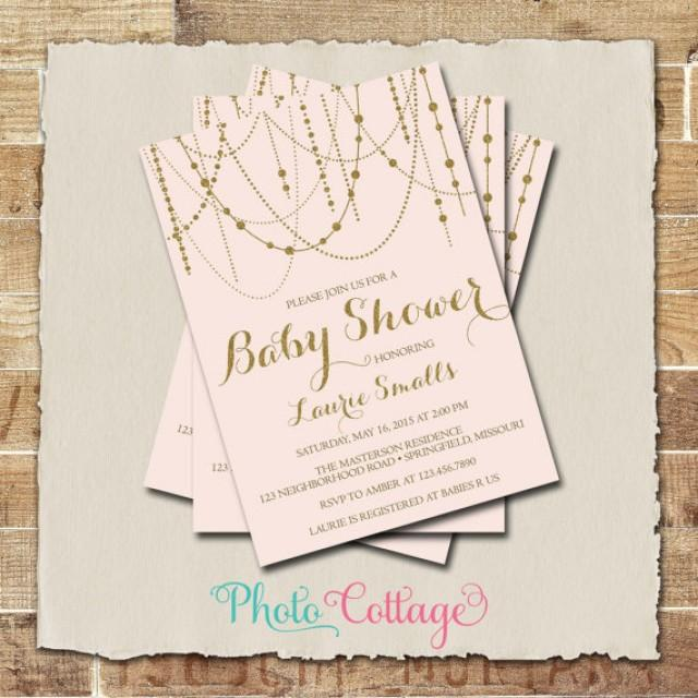 baby shower invitation glitter gold invitation light pink invitations