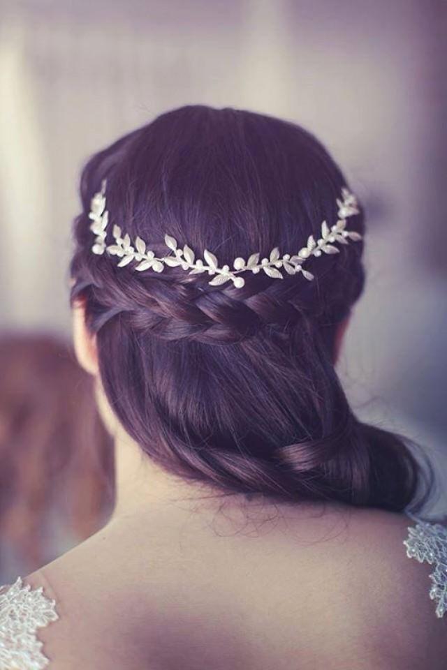 Bridal Hair Accessories  Brides Headpieces Gentle Silver Leafs Hair Wreath Silver Leaf Crown ...