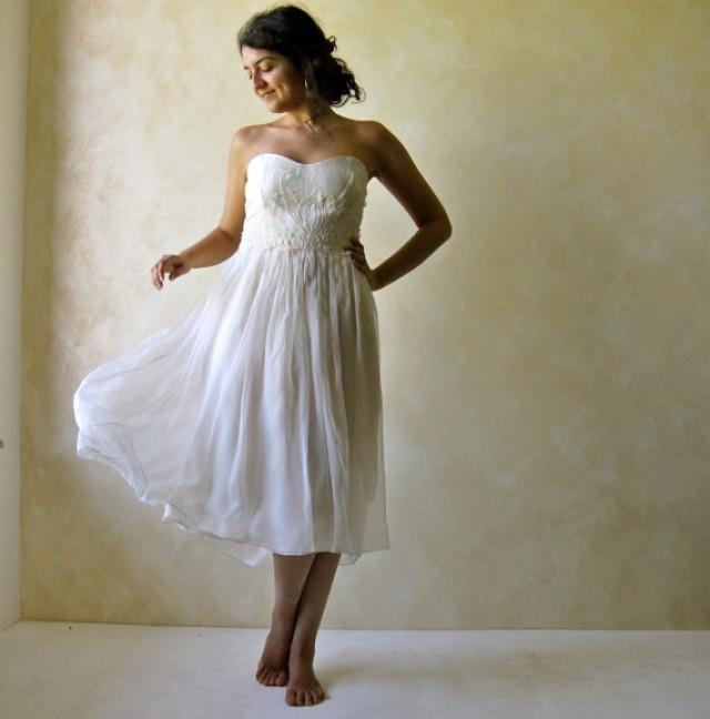 Bridal gown strapless wedding dress sweetheart dress for Sweetheart tea length wedding dress