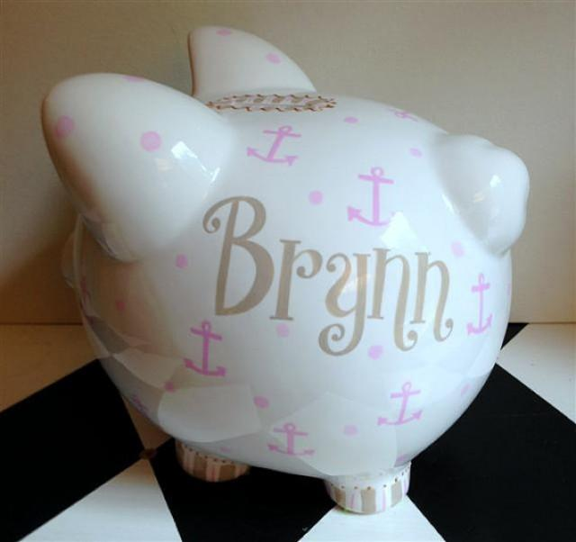 Nautical anchor piggy bank size large personalized 2286257 weddbook - Nautical piggy banks ...