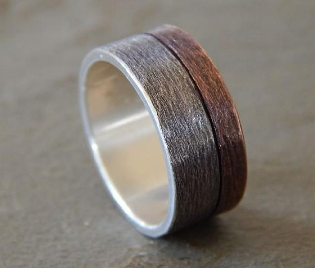 Moonlight Silver Amp Copper Wedding Band Men S Wedding