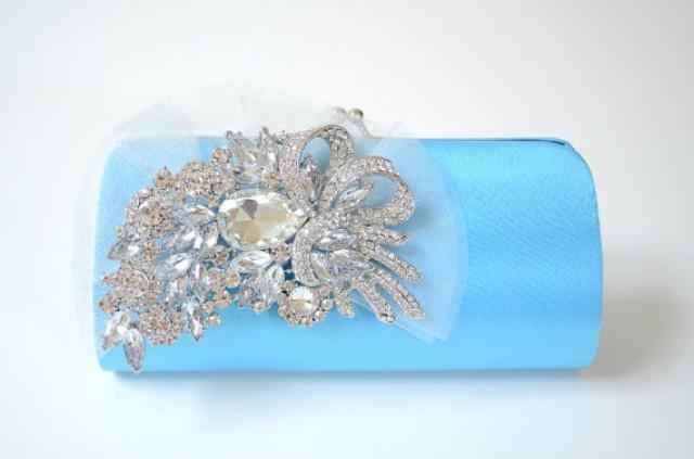 Rhinestone Bridal Clutch In Blue ~ Bridesmaid Clutch ~ Formal Clutch ~ Sale ~ Something Blue ...