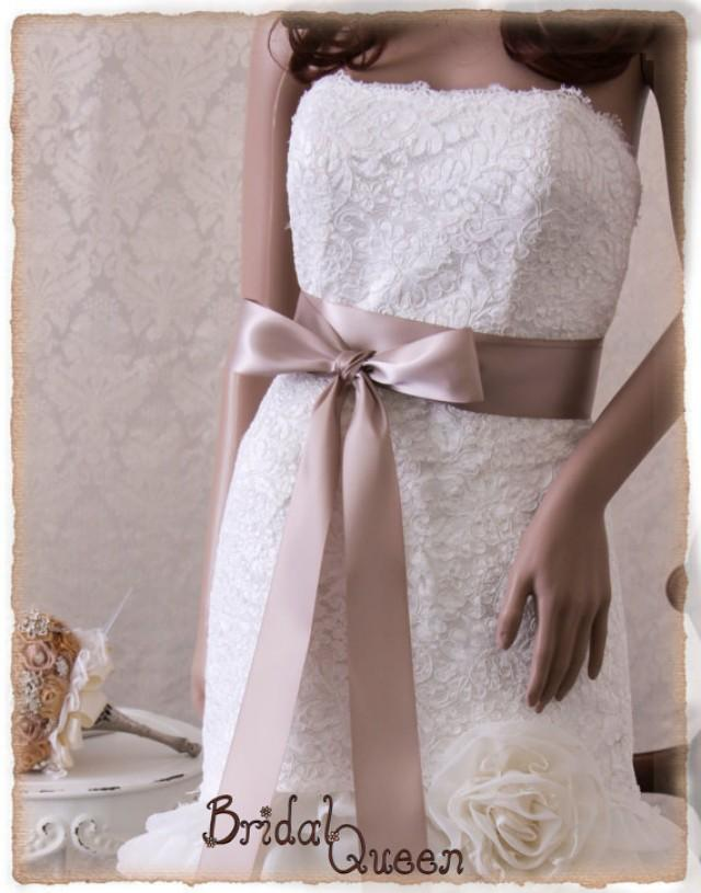 Taupe bridal sash wedding dress sash bridal belt bridal for Satin belt for wedding dress