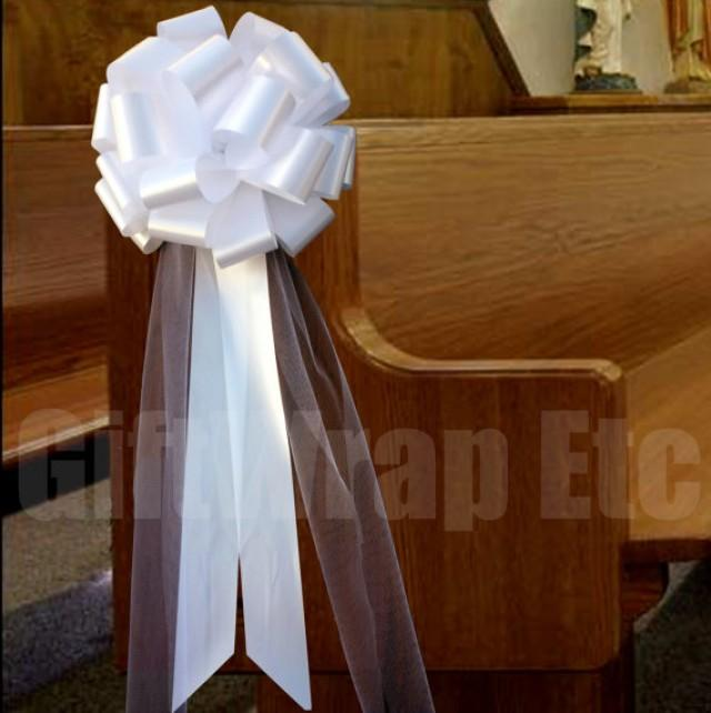 6 Large White Pull Bows Tulle Tails Wedding Church Pew Decorations 2286390 Weddbook