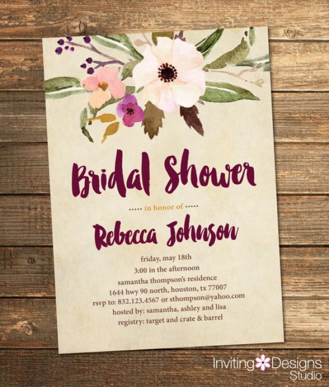Bridal Shower Invitation, Watercolor, Floral, Fall, Purple