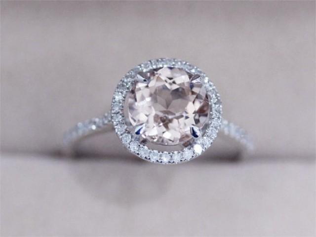 Engagement Ring Vs Wedding Ring VS 8mm Round Morganite Ring Prong Pave Diamond Wedding Ring Morganite