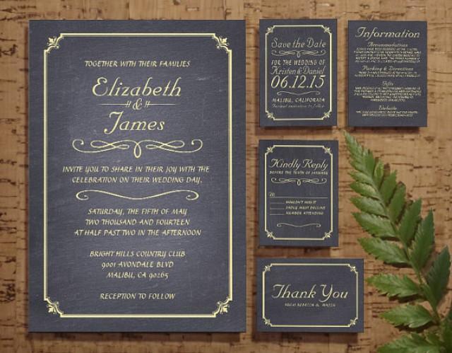 Wedding Invitation Rsvp Date: Gold Chalkboard Wedding Invitation Set/Suite, Invites