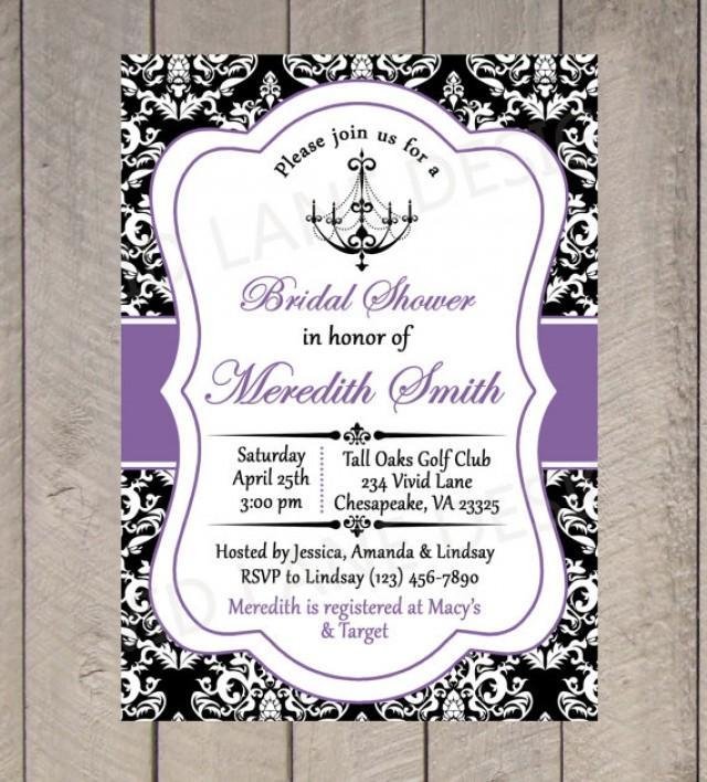 Bridal shower printable invitation chandelier black for Black and white bridal shower invitations